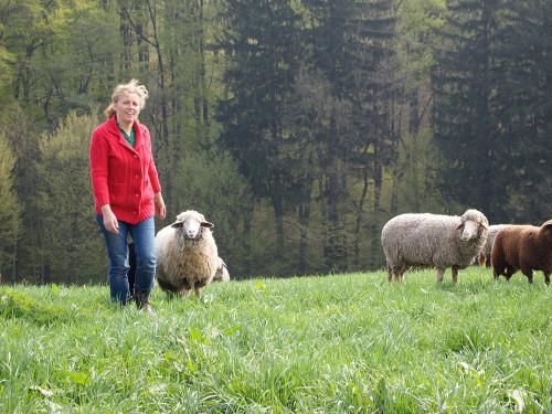 Eva Hieret mit Schafsherde